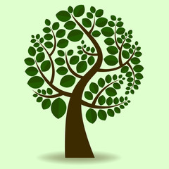 Cute green tree icon
