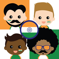 Group of happy Indian's supporters