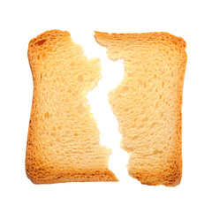 Toasted bread slice cracked