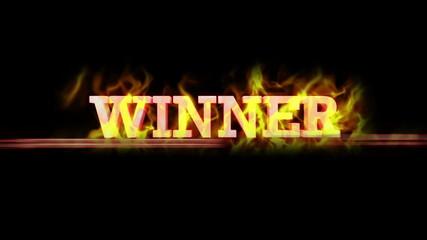 Fiery WINNER Text, with Alpha Channel, Loop