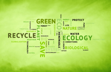 Conceptual eco green tag word background