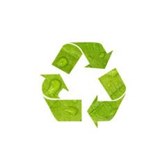 Creative green color recycle symbol