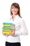 Portrait of smiling woman with textbooks, on white