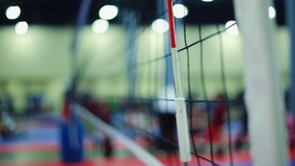Side shot of Net during Indoor Volleybal game