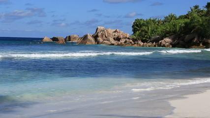Beautiful beach Anse Cocos. Time Lapse