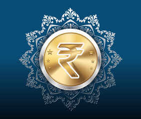 gold coin and pattern background, gold coins with rupee