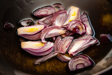 Red Onions in Pan