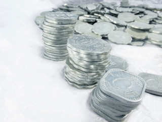 Aluminium old coins..lost in time.