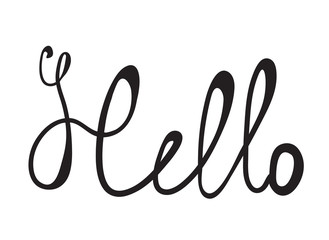Hand-written word HELLO, lettering