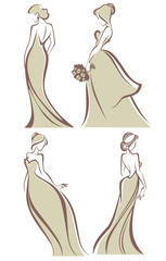 vector collection of romantic brides