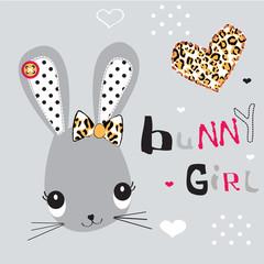 childish pattern with bunny girl vector illustration