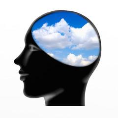 brain with blue sky
