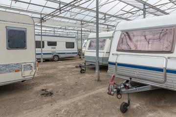 Caravan parking in empty Dutch Greenhouse