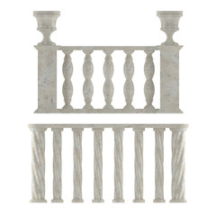Classic marble balustrade isolated