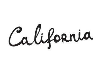 Hand-written word CALIFORNIA, lettering