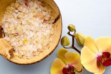 Sea salt, yellow orchid.