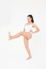Fit woman practicing karate