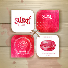 Set of sweet or dessert stickers