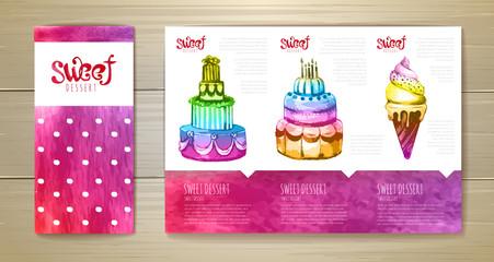 Watercolor dessert concept design. Corporate identity.