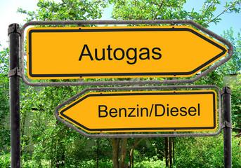 Strassenschild 40 - Autogas