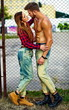 sexy stylish couple woman and man in hipster cloth outdoors