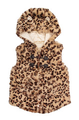 Children's fur vest with leopard print on an isolated white back