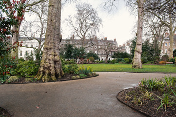 Park in Bedford Square. London, United Kingdom.
