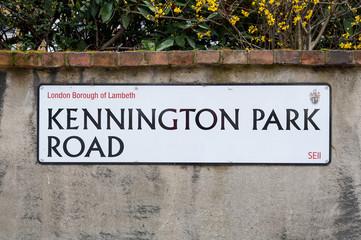 Kennington Park Road sign in London, UK.