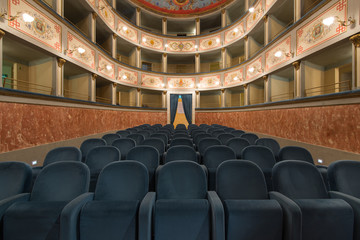 Old Theater inside view. Ripatransone, Marche region, Italy.