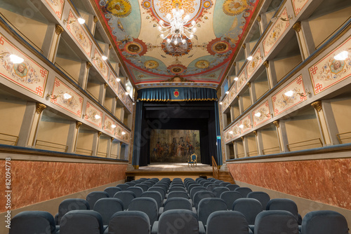 Papiers peints Con. Antique Old Theater inside view. Ripatransone, Marche region, Italy.