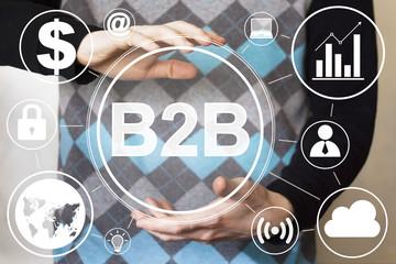 Businessman pressing sign button b2b online.