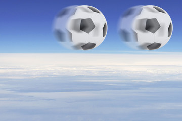 football rolling in the sky