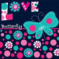 beautiful butterfly love card vector illustration