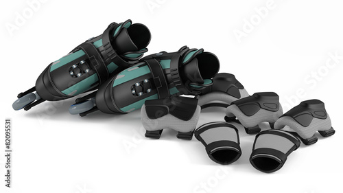 Roller skates with equipment isolated - 82095531