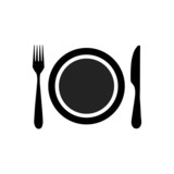 Dish, fork and knife