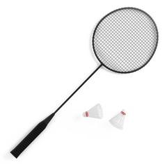 Badminton racket with birdies shuttlecock