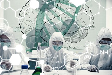 Composite image of chemists working with futuristic interface