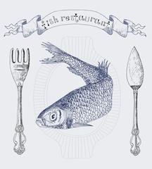 Fish restaurant banner with herring vertical
