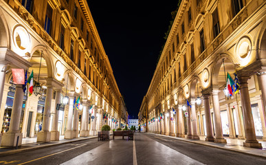 Via Roma, a street in the center of Turin - Italy