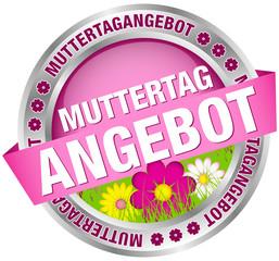 """Button Banner """"Muttertagangebot"""" Blumen pink/silber"""
