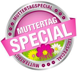 "Button Banner ""Muttertagspecial"" Blumen pink/silber"