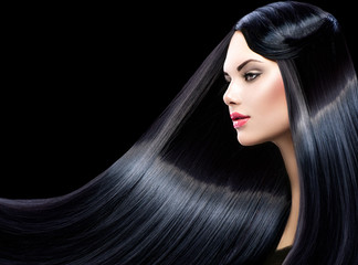 Beautiful model girl with healthy long straight shiny hair