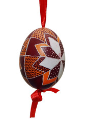interesting decoration of Easter eggs on a white background
