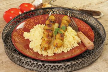 brochettes de viande au curry