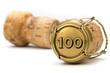 Leinwandbild Motiv Champagnerkorken Jubiläum 100 Jahre