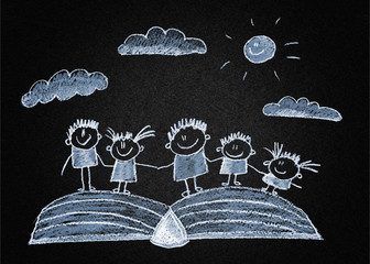 Happy kids with book