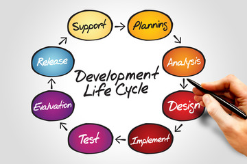 Circular flow chart of life cycle development process
