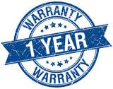 1 year warranty grunge retro blue isolated ribbon stamp