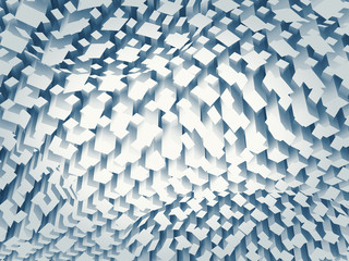 Chaotic blue square pattern on a curved surface, 3d
