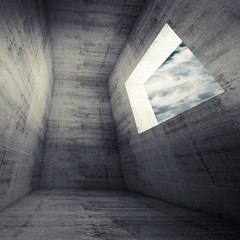 Abstract architecture background, dark concrete room